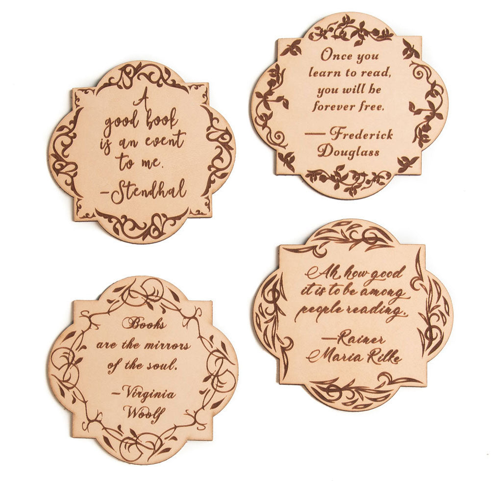Leather Quote Coasters Set (Booklovers)