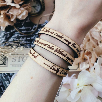 Emily Dickinson Leather Quote Bracelet