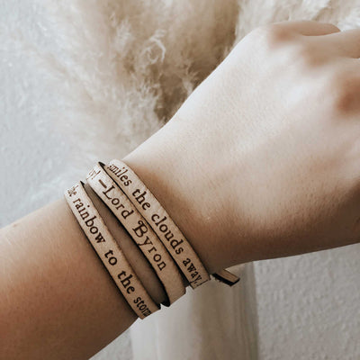 Lord Byron Leather Quote Bracelet