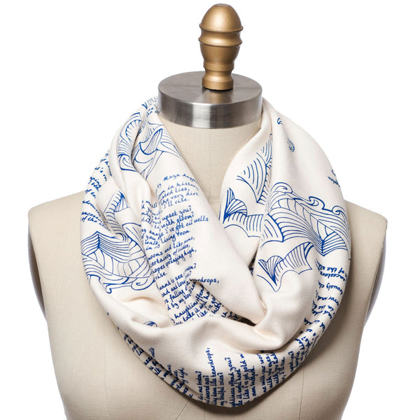 Still I Rise Book Scarf White And Blue Infinity Scarf