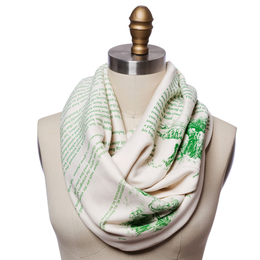 Tarzan Book Scarf White And Green Infinity Scarf
