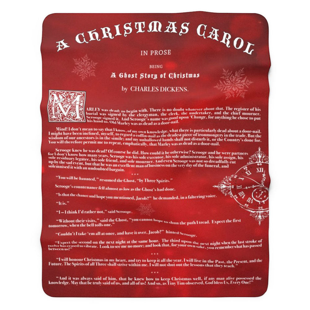 A Christmas Carol Sherpa Fleece Book Blanket