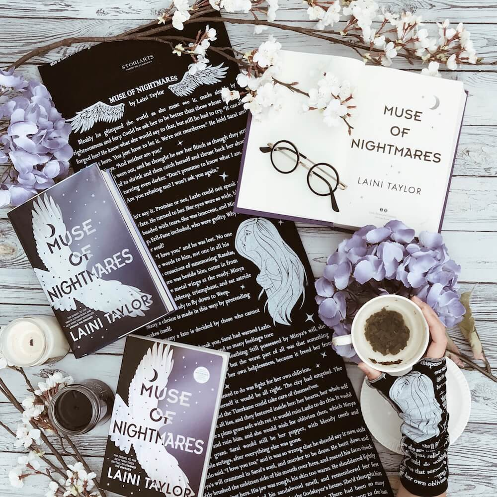 Muse of Nightmares Book Scarf | Black and White Infinity Scarf