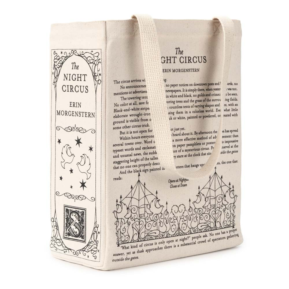 Mysterious White Shapes Spread Out On >> The Night Circus Book Tote Cream Colored Tote Bag