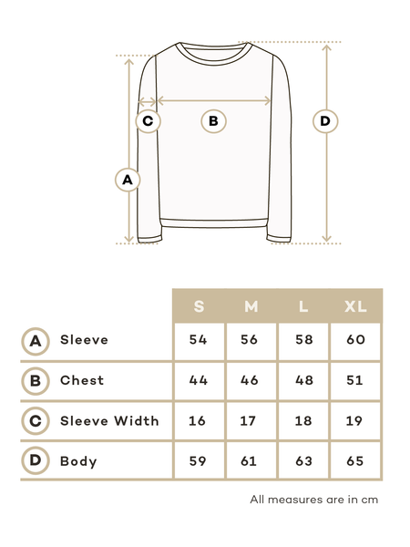 Size chart alpaca sweater woman