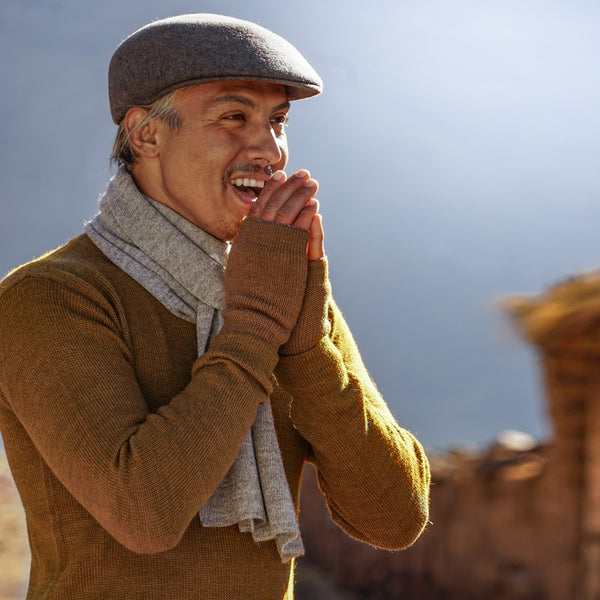Man wearing brown colored baby alpaca wool clothes