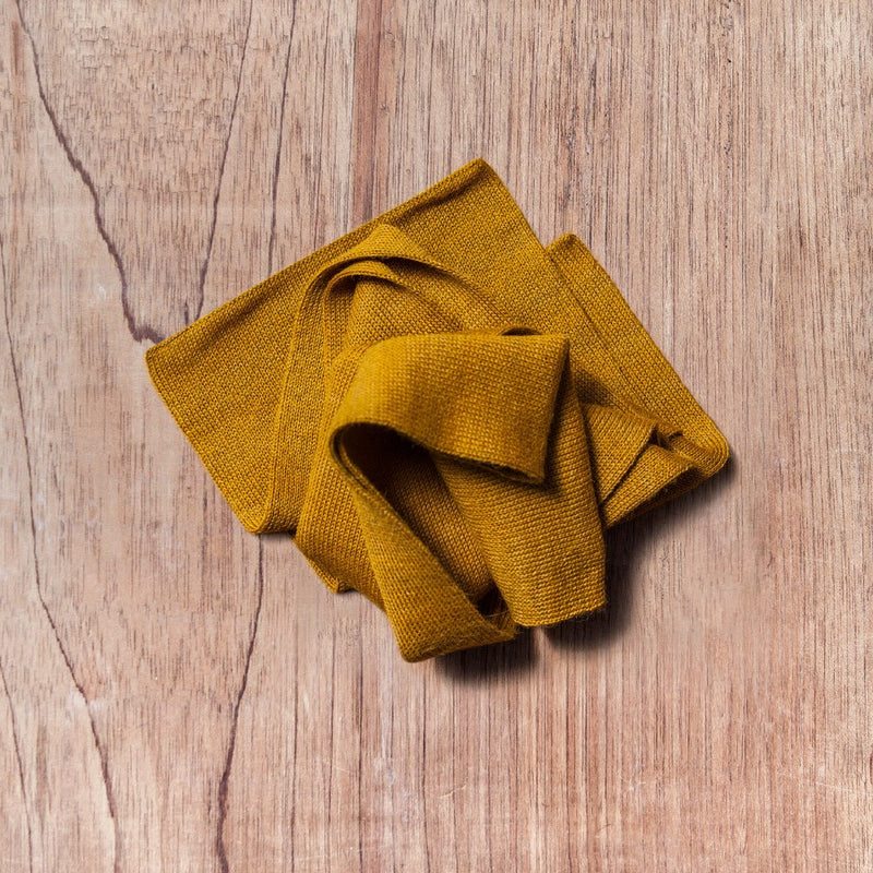 Scarf in baby alpaca wool color mustard
