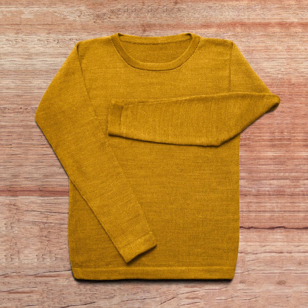 Sweater made of baby alpaca wool in the color mustard