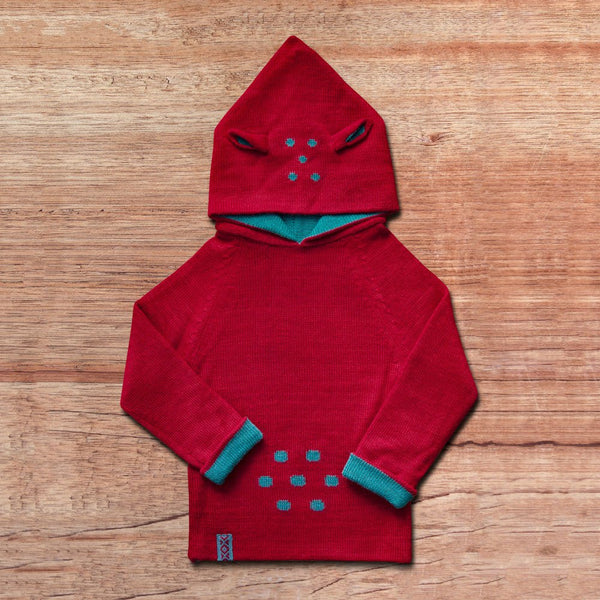Kids-Sweater with hood in baby alpaca wool color red