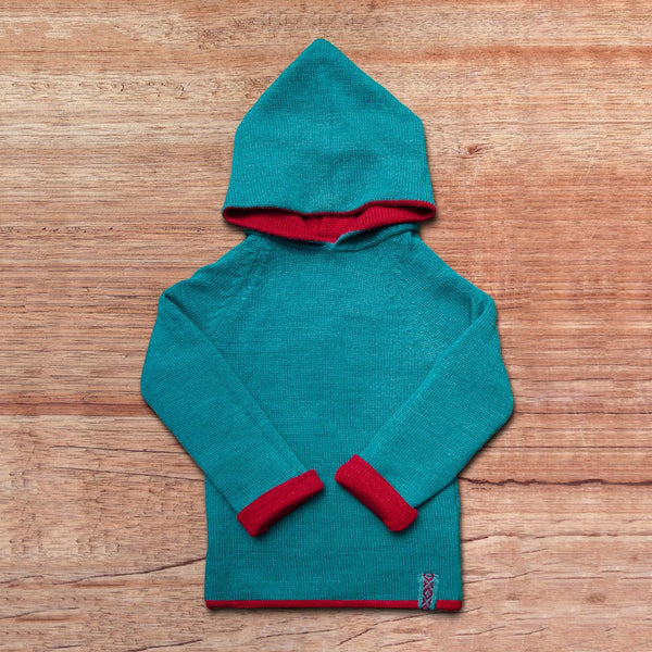 Kids-Sweater with hood in baby alpaca wool color blue