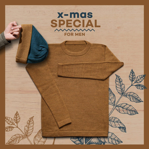 Package – Sweater + Beanie Men – WOOD-BROWN