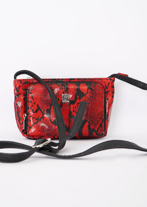 Vintage Red Faux Snakeskin Purse