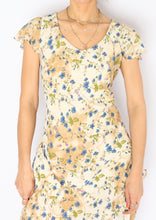 Load image into Gallery viewer, Vintage Beige & Blue Floral Chiffon Dress (XS)