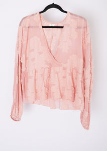 Wilfred Pink Floral Sheer Blouse (M)