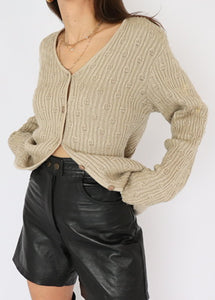 Vintage Beige Cotton Ribbed Knit Cardigan (L, XL)