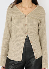 Load image into Gallery viewer, Vintage Beige Cotton Ribbed Knit Cardigan (L, XL)