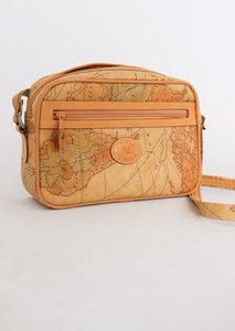 Vintage Camel Map Leather Bag
