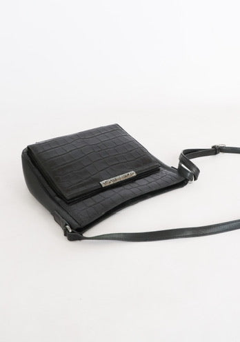 Vintage Black Leather Croc Bag