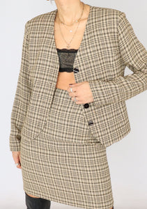 Vintage Beige Plaid Set (S)