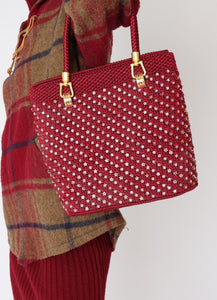 Vintage Wine Red Beaded Knit Bag
