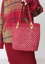Load image into Gallery viewer, Vintage Wine Red Beaded Knit Bag
