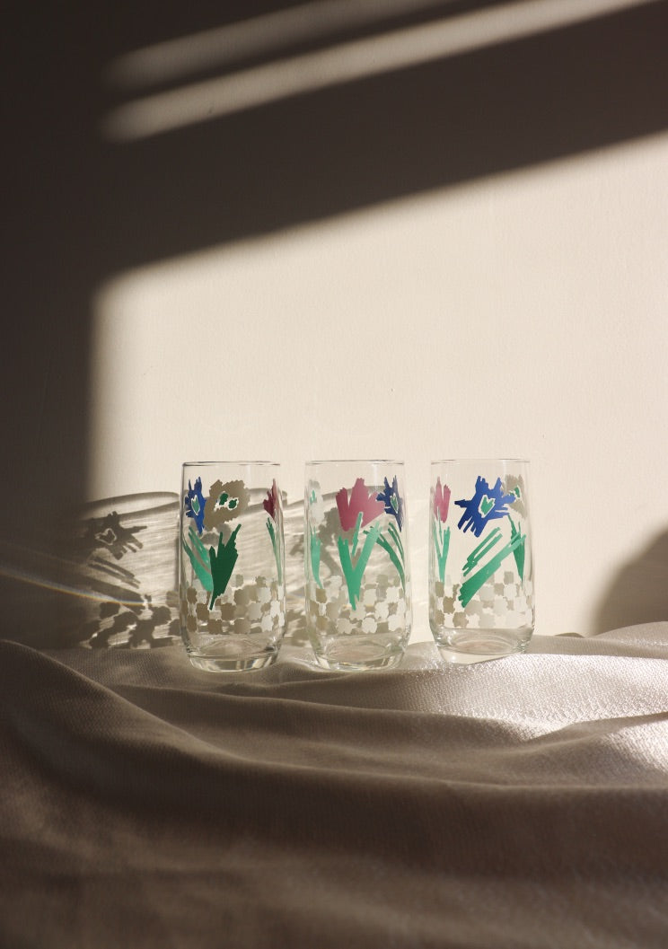 Vintage 1984 Floral & Checkered Glassware Set