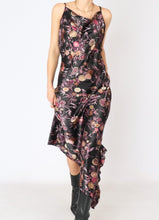 Load image into Gallery viewer, Vintage Black Floral Satin Dress (S, M)