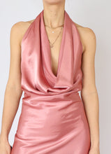 Load image into Gallery viewer, Vintage Blush Satin Low-Back Dress (L, XL)