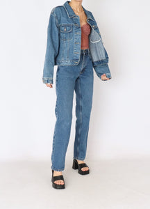 Vintage Nevada Mid-Wash Denim Cropped Jacket (S, M)