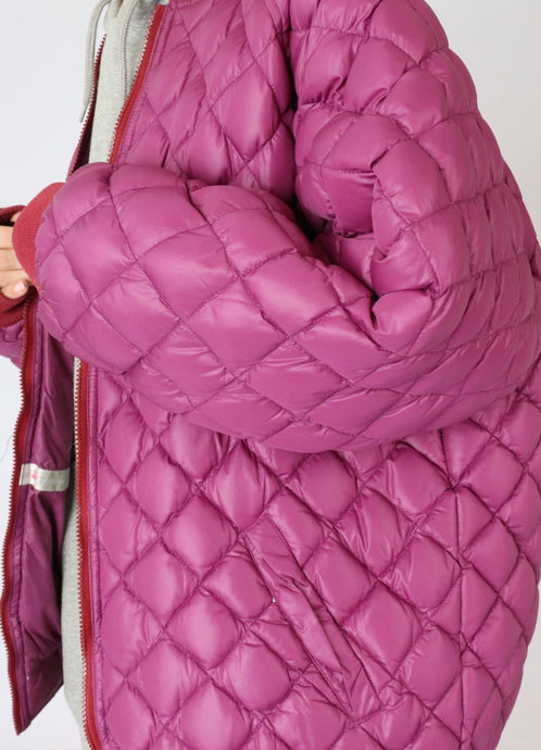 Vintage Fuschia Quilted Oversized Down Jacket (S-L)