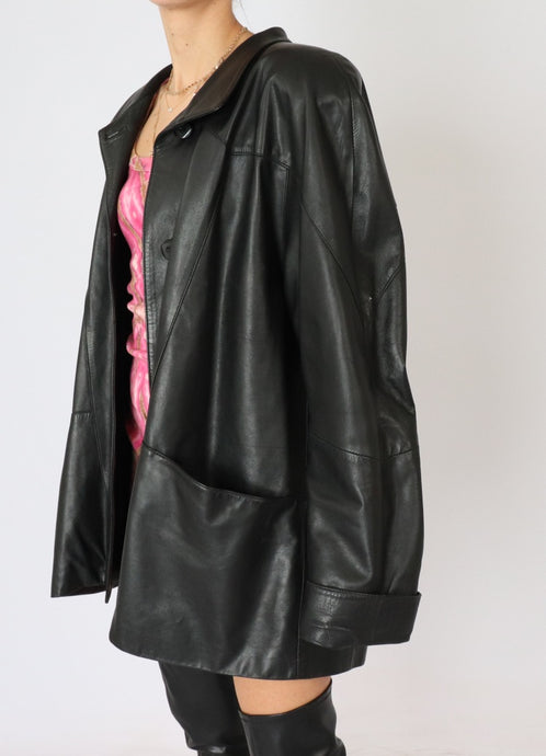 Vintage Black Leather Oversized Blazer (M, L)