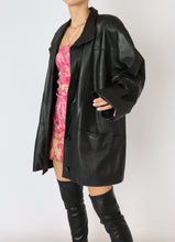 Load image into Gallery viewer, Vintage Black Leather Oversized Blazer (M, L)