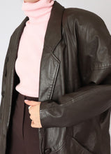 Load image into Gallery viewer, Vintage Danier Dark Chocolate Leather Blazer (S)