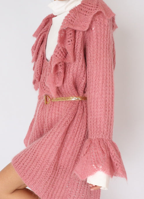 Vintage Mohair Bubblegum Knit Sweater Dress