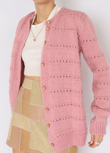 Vintage Bubblegum Wool Knit Cardigan (S, M)