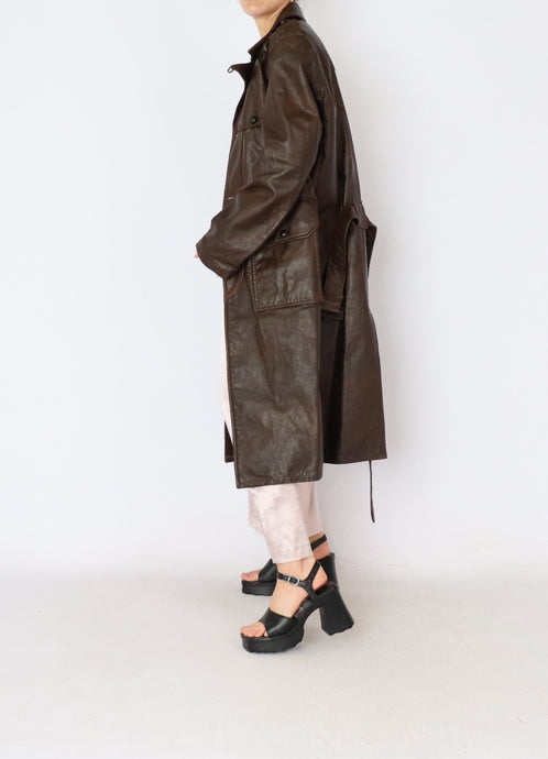 Vintage Chocolate Leather Belted Trench (L)