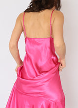 Load image into Gallery viewer, Vintage Hot Pink Satin-Laced Dress (S, M)