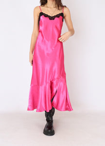 Vintage Hot Pink Satin-Laced Dress (S, M)