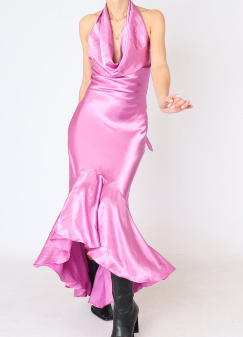 Vintage Magenta Satin Low-Back Dress (M)