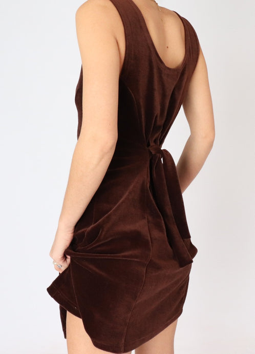 Vintage Brown Velvet Mini Dress (XS, S)