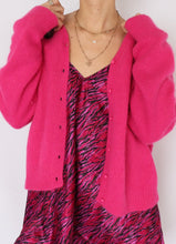 Load image into Gallery viewer, Vintage Hot Pink Angora Blend Cardigan (XS, S)