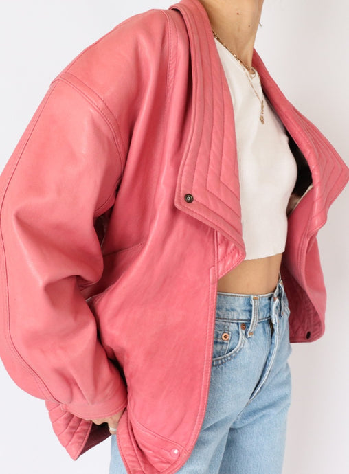 Vintage Danier Bubblegum Leather Jacket (S, M)