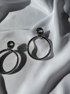 Vintage Silver Large Knotted Hoops