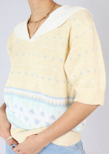 Vintage Butter Yellow Collared Cotton Sweater (S, M)