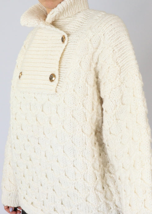 Vintage Cream Chunky Wool Knit Sweater (L)