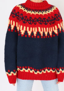 Vintage Red Patterned Chunky Knit Sweater