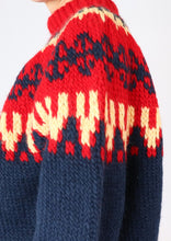Load image into Gallery viewer, Vintage Red Patterned Chunky Knit Sweater