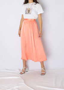 Vintage Peach Silk Skirt (L)
