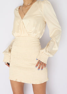 Modern Cream Cinched Satin Mini Dress (S)