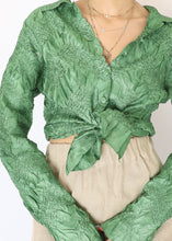 Load image into Gallery viewer, Vintage Green Satin Cinched Shirt (S)